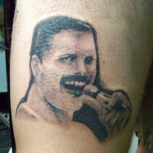 bad freddie mercury portraits tattoos funny - 7696378368