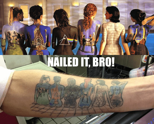 so close,pink floyd,tattoos,funny,g rated,Ugliest Tattoos