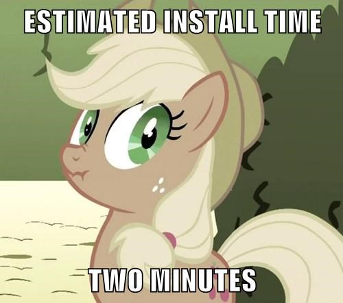 ESTIMATED INSTALL TIME  TWO MINUTES