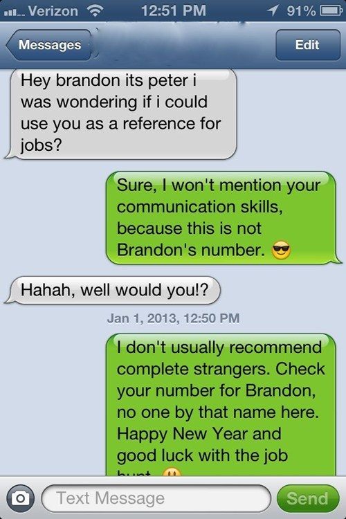 wrong number,work,references,job hunting