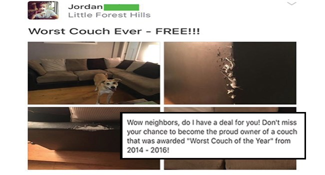 man tries to sell a couch