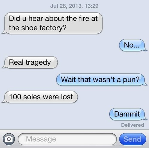 shoes,puns,texting