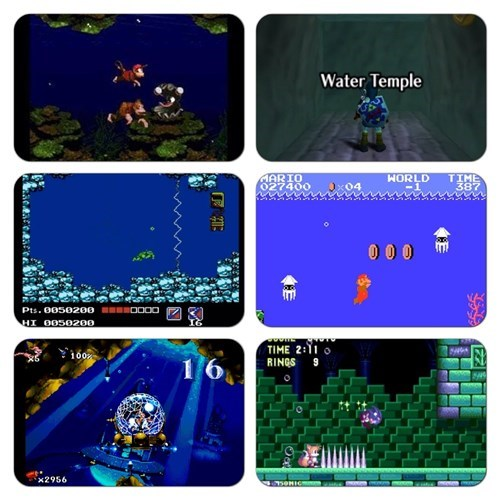 dat sonic drowning music donkey kong water levels video games zelda mario sonic