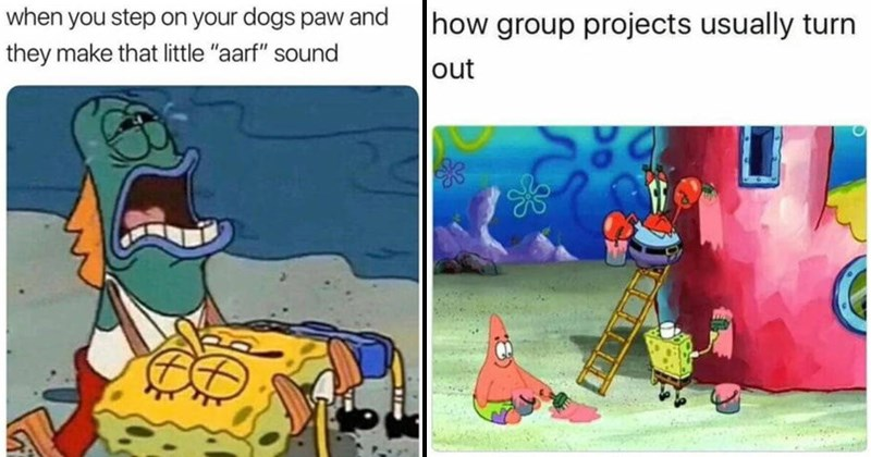 "feel good spongebob memes | step on dogs paw and they make little ""aarf"" sound lifeguard crying with Spongebob in his arms 