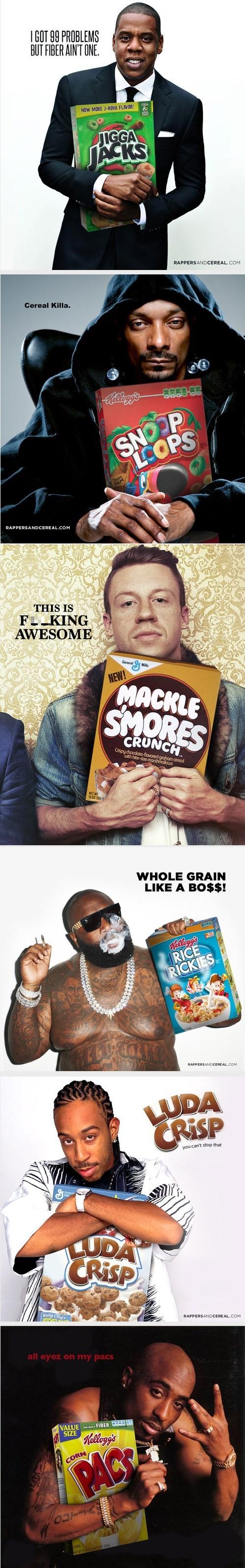 rappers tupac shakur Macklemore ludacris rick ross snoop dogg cereal Jay Z - 7703724032
