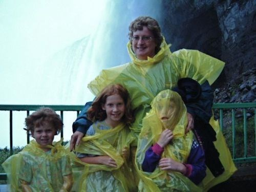 waterfall,poncho,Parenting Fail
