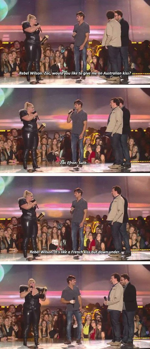 rebel wilson zac efron australian kiss trolled - 7703808000