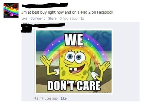 we-dont-care SpongeBob SquarePants useless status failbook g rated - 7705041152