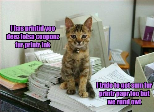 I has printid yoo deez lotsa cooponz fur printr ink I tride to get sum fur printr papr too but we rund owt