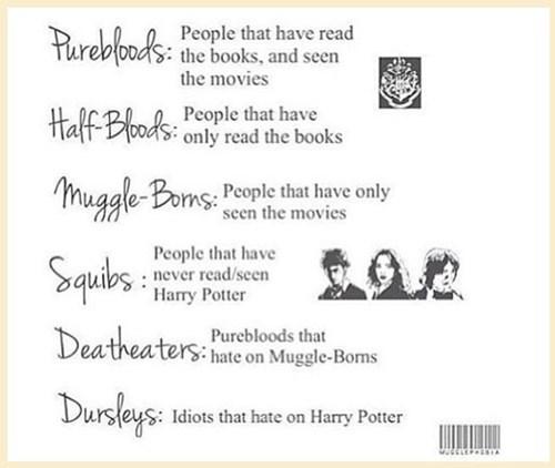 Harry Potter pureblood half bloods - 7706617088