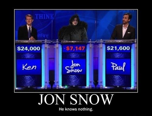 Jeopardy Jon Snow Game of Thrones George RR Martin - 7706695680