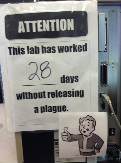 labs,plagues,days since counter,days since,fallout 3,vault boy,monday thru friday,g rated