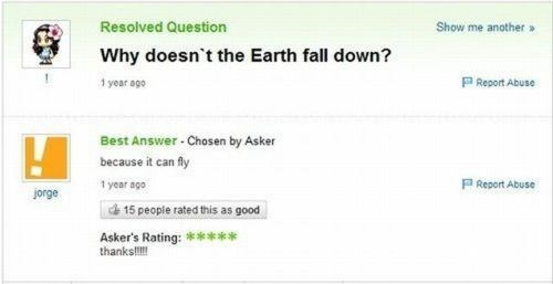 yahoo answers,stupid questions,earth,magic