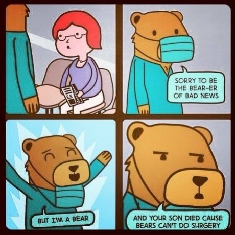 bears,puns,sad but true,doctors,funny,web comics