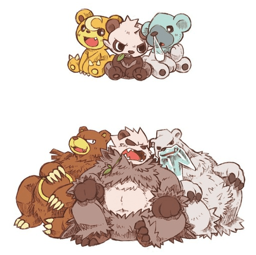 cubchoo Pokémon art cute teddiursa pancham - 7708383488