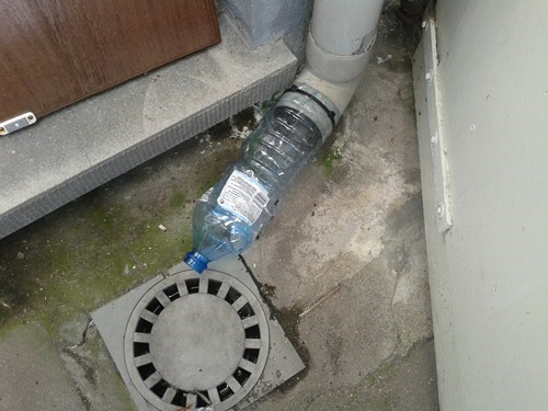 zip ties,water bottle,drainpipe,funny,there I fixed it