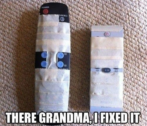 masking tape,remote controls,grandma,funny,there I fixed it