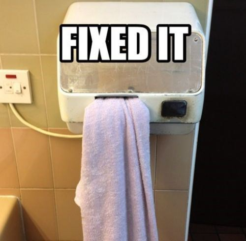 towel,hand dryers,funny,there I fixed it