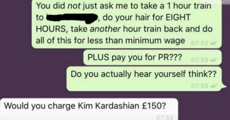 cheapskate, cheap, hairdresser, woman wants influencer discount on haircut