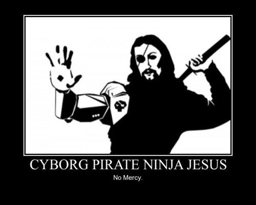 jesus,ninja,cyborg,mercy