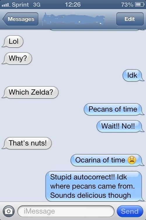 autocorrect text ocarina of time zelda funny AutocoWrecks - 7711395072