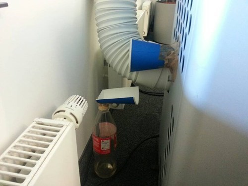 soda bottle,solo cup,funny,air conditioner,there I fixed it