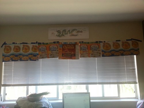 miniblinds cereal boxes duct tape there I fixed it funny - 7712514816