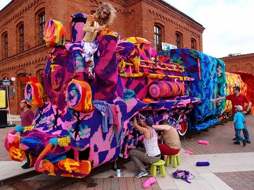 This Entire Locomotive Got Yarn-Bombed!