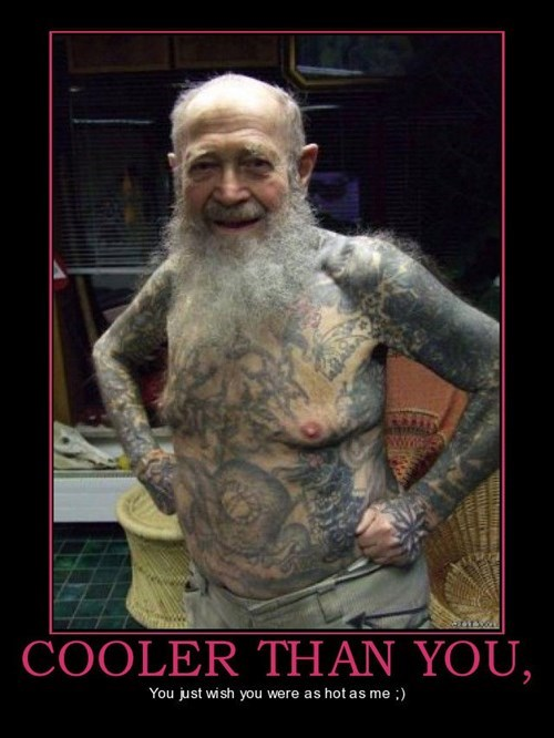 cool,old guy,tattoos,funny,dude