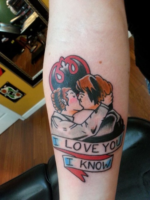 star wars,tattoos,kissing,Han Solo,Wookies,funny,Princess Leia,g rated,Ugliest Tattoos