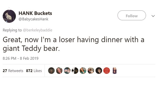 teddy bear restaurant dinner funny tweets - 7716869