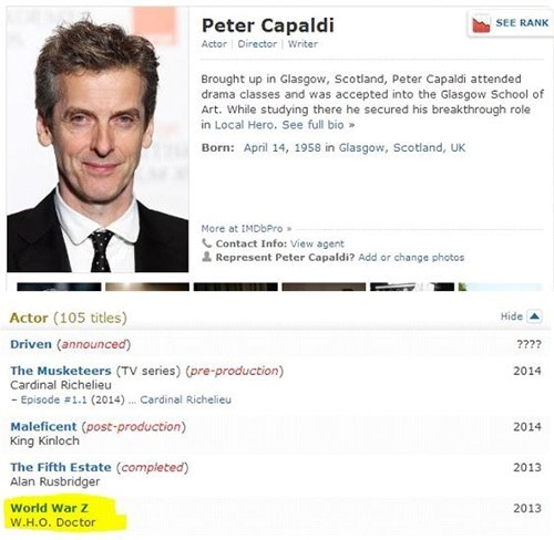 Peter Capaldi 12th Doctor doctor who world war z - 7717631232