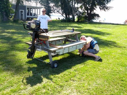 picnic table funny there I fixed it boat motor g rated
