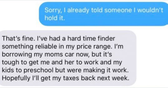 Wholesome text about car sale