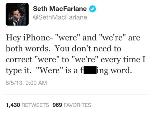 twitter,autocorrect,text,Seth MacFarlane,funny,iphone,AutocoWrecks