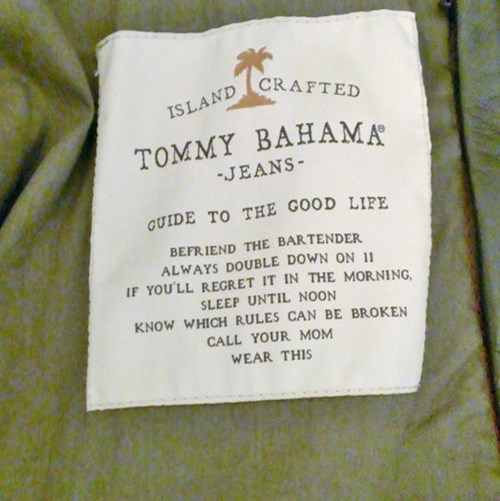 advice,tommy bahama,tag