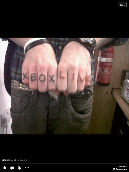 xbox live,tattoos,knuckles,funny,g rated,Ugliest Tattoos