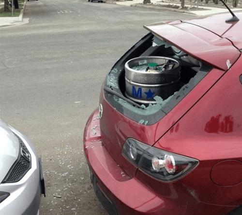 beer,car,broken,funny,keg