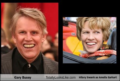 gary busey Hilary Swank totally looks like funny - 7720597504