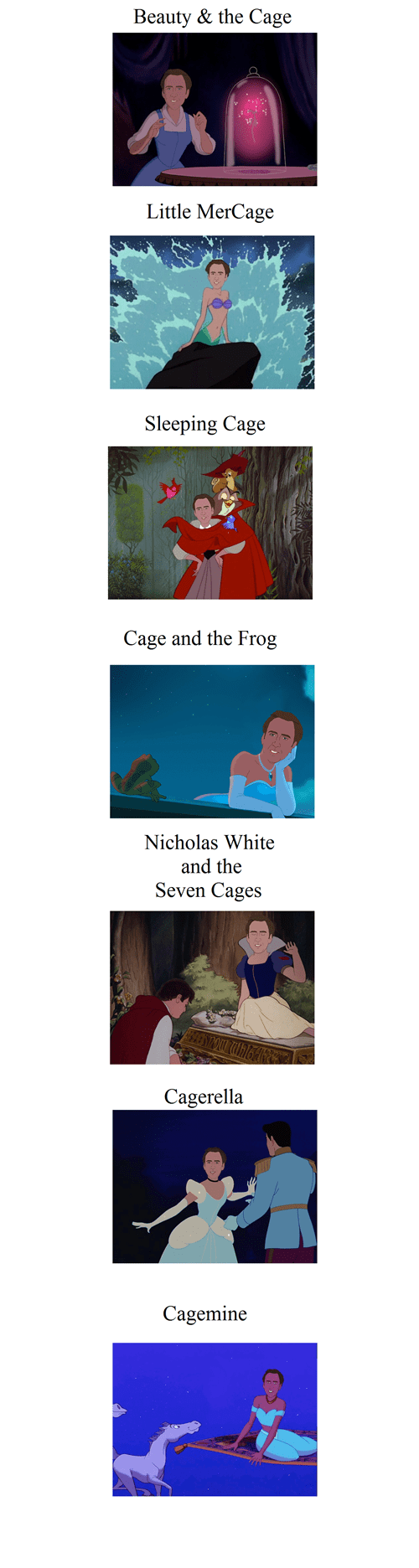 crossover disney wtf disney princesses nicolas cage - 7720675584
