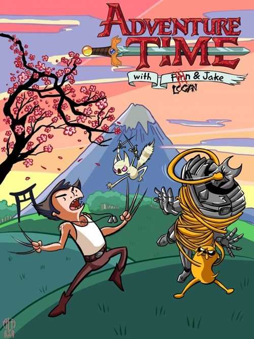 crossover,Fan Art,x men,wolverine,adventure time