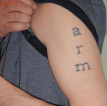 text tattoos arm funny - 7722703616