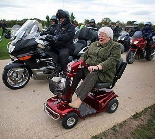 old people rock scooter BAMF motorcycle funny - 7723338496