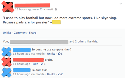skydiving,pads,tampons,football