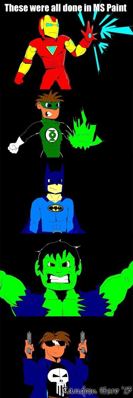 the hulk the punisher ms paint Fan Art iron man Green lantern