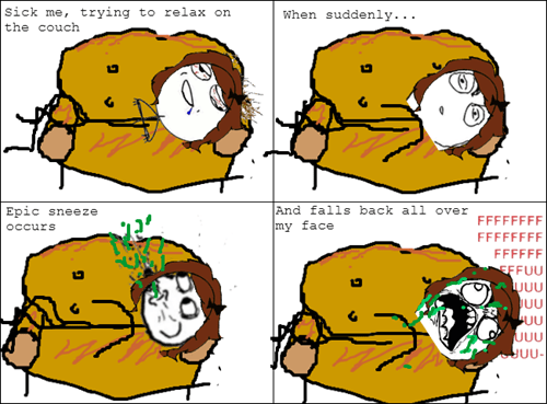 lying down,sneezing
