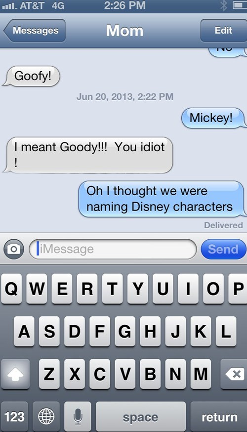 autocorrect text moms disney characters funny - 7724855552
