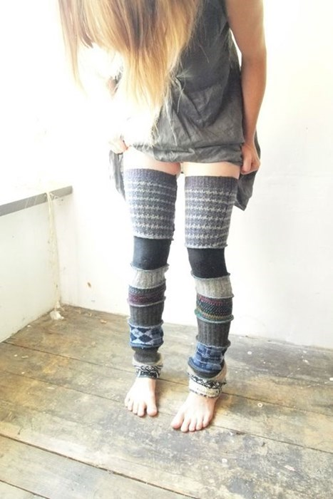 upcycle,ugly sweater,leg warmers