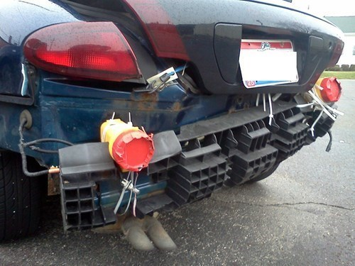 zip ties,flashlights,cars,tape,there I fixed it,funny