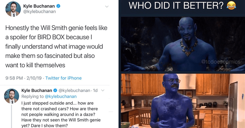 Funny memes about will smith aladdin genie, will smith genie, blue man group, arrested development, tobias funke.